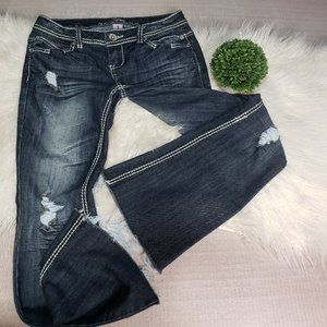 Almost Famous destroyed ripped stretch jeans flare